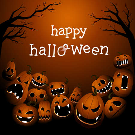 Halloween background with scary pumpkin monsters.