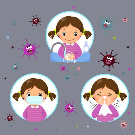 Covid-19 or Coronavirus 2019-nCoV disease prevention concept with a little girl. Kid wearing a face mask, washing her hands with soap and sneezing cover mouth and nose with tissue.