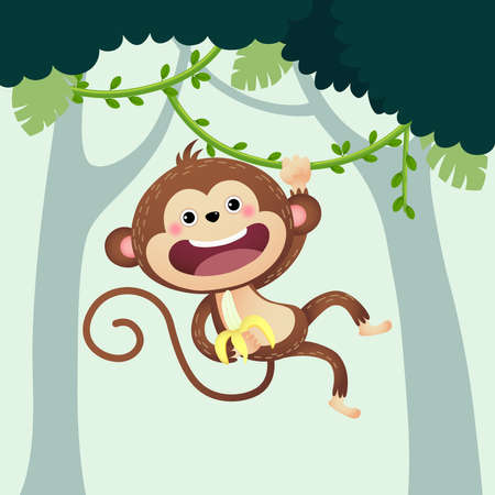 Vector illustration cartoon monkey with a banana hanging from liana in the jungle.