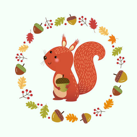 Vector illustration cartoon squirrel with wreath made of autumn leaves and berries. Hello autumn background.