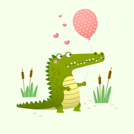 Vector illustration of a cute crocodile holding a balloon on green background.