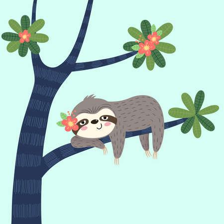 Vector illustration of a lazy sloth sleeping on the tree.