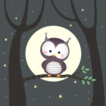 Vector illustration cute owl sitting on a tree branch with moon and stars at night. Çizim