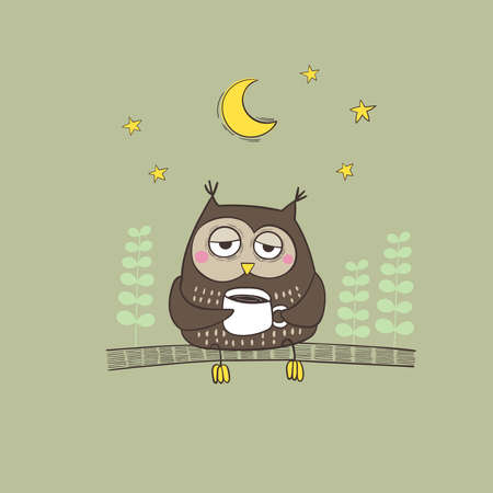 Vector illustration hand drawn sleepy owl with a cup of coffee on the tree branch. 向量圖像