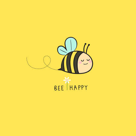 Vector illustration of lovely bee flying on yellow background. Bee happy for card design, t-shirt or textile print. Inspiring creative motivation quote card.