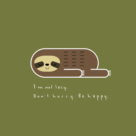 Vector illustration of lovely lazy sloth in linear geometric style lying on a green background. Be happy for card design, t-shirt or textile print. Illusztráció