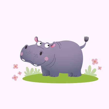 Vector illustration cute cartoon hippopotamus on green grass.
