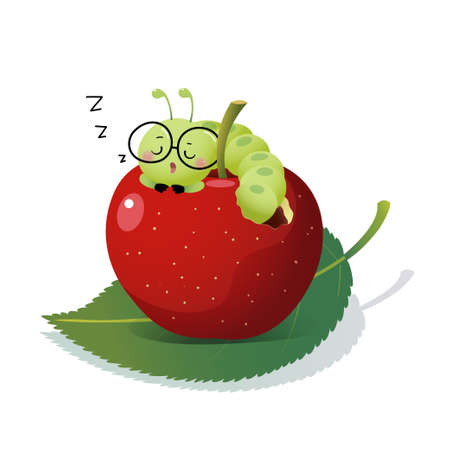 Vector illustration cute cartoon caterpillar wearing glasses and sleeping on an apple. Illusztráció