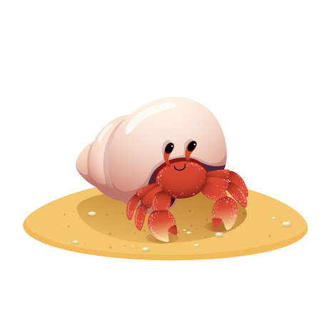 Vector illustration cute cartoon hermit crab crawling on the beach on white background.