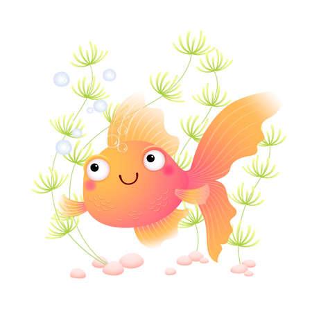 Vector illustration cute cartoon goldfish in an aquarium.