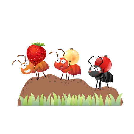 Vector illustration of a cartoon colony of ants carrying berries and walking on the pile of soil to the nest. Vektoros illusztráció