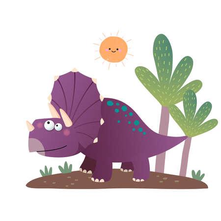 illustration of cartoon Triceratops dinosaur on white background. 向量圖像