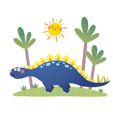 illustration of cartoon Stegosaurus dinosaur on white background.