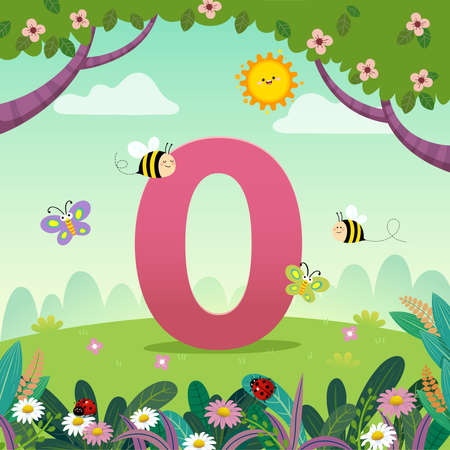 Flashcard for kindergarten and preschool learning to counting number with a number of kids. Vektorové ilustrace