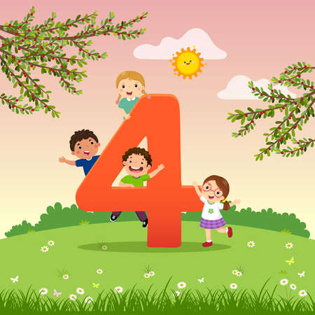 Flashcard for kindergarten and preschool learning to counting number 4 with a number of kids. Vektorové ilustrace
