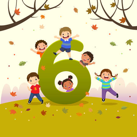Flashcard for kindergarten and preschool learning to counting number 6 with a number of kids. 矢量图像