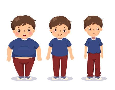 illustration cute cartoon fat boy, average boy, and skinny boy. Boy with different weight.