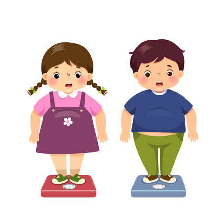 illustration cute cartoon fat boy and girl checking their weight on the scales.