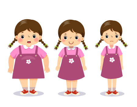 illustration cute cartoon fat girl, average girl, and skinny girl. Girl with different weight. Vetores