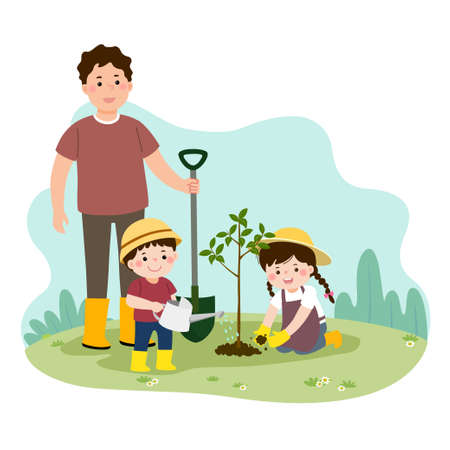 illustration of a cartoon happy children helping their father planting the young tree. Family enjoying time at home concept.