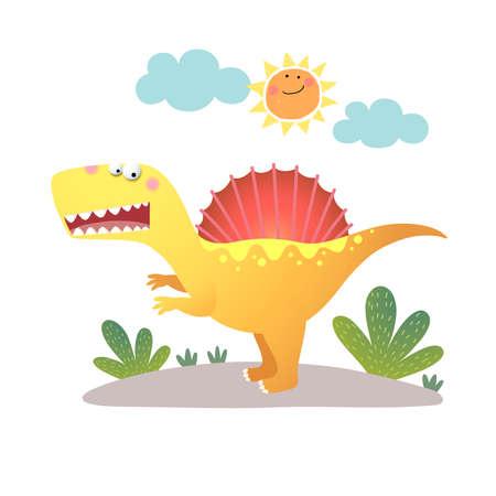 illustration of cartoon Spinosaurus dinosaur on white background. 向量圖像