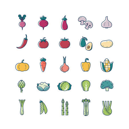 Vegetarian, vegetable, veggies thin line and color icons set. Vegetable food signs.