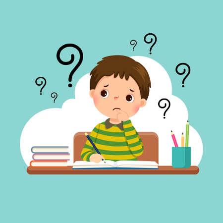 Vector illustration of a cartoon stressed little boy doing hard homework on the desk. Vettoriali
