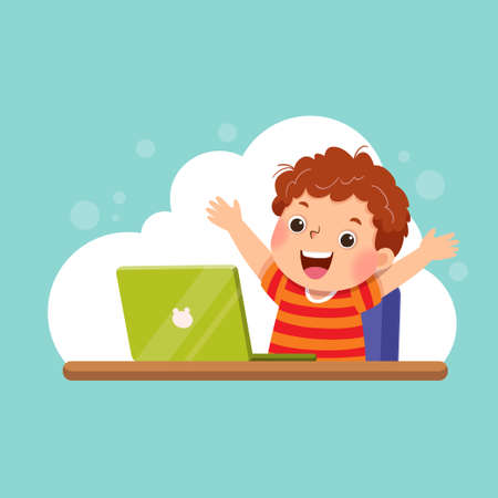 Vector illustration of a cartoon boy with his laptop expressing his success. Education concept.