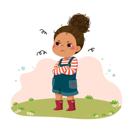 Vector illustration of cartoon little sulky girl standing with arms crossed on chest. Vektorgrafik