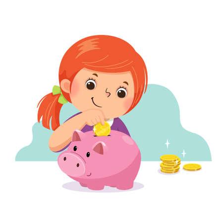 Vector illustration cartoon of a little girl putting coin into piggy bank.