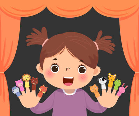 Vector illustration cartoon of little girl playing animal finger puppets theatre.