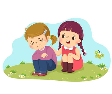 Vector illustration cartoon of little girl consoling her crying friend.