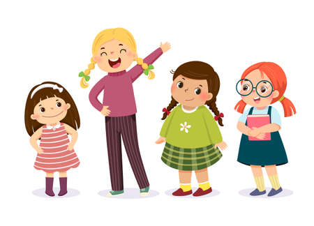 Vector illustration of cute little girls in different character on white background. Vector Illustration
