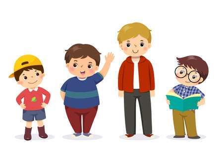 Vector illustration of cute little boys in different character on white background.