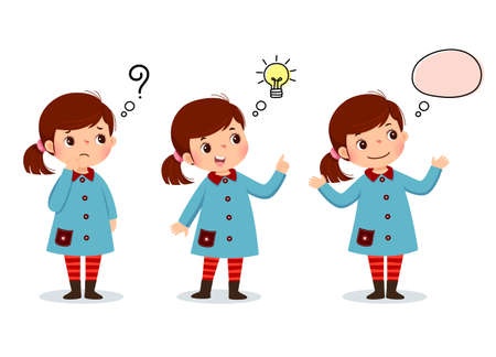 Vector illustration of cartoon kid thinking. Thoughtful girl, confused girl, and girl with illustrated bulb above her head. Ilustração Vetorial