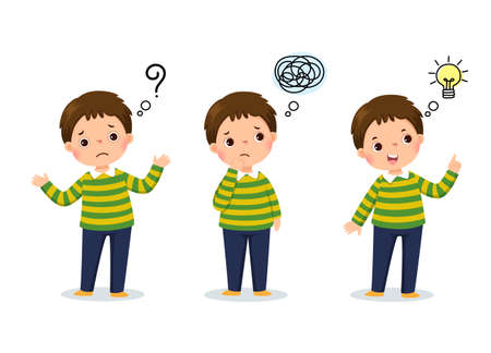 Vector illustration of cartoon child thinking. Thoughtful boy, confused boy, and boy with illustrated bulb above his head. Ilustração