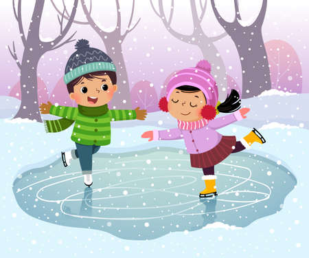 Vector illustration cartoon of cute boy and girl kids ice skating in winter snowy landscape.