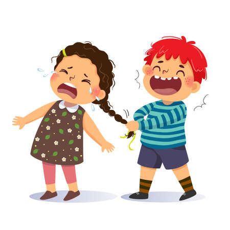 Vector illustration cartoon of a naughty boy pulling the pigtail of a little girl. Bullying in school concept.
