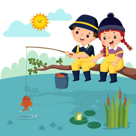 Vector illustration of little happy boy and girl sitting on the branch and fishing in a pond. Fisherman kids.