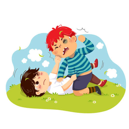Vector illustration cartoon of two boys fighting on the green grass.