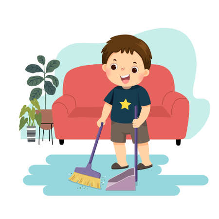 Vector illustration cartoon of a little boy sweeping the floor. Kids doing housework chores at home concept.