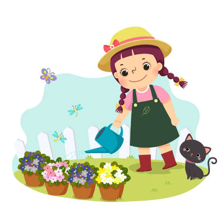 Vector illustration cartoon of a little girl watering plant. Kids doing housework chores at home concept. Vettoriali