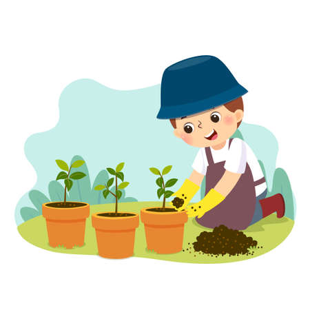 Vector illustration cartoon of a little boy doing gardening. Kids doing housework chores at home concept