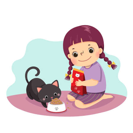 Vector illustration cartoon of a little girl feeding her cat at home. Kids doing housework chores at home concept. Vettoriali