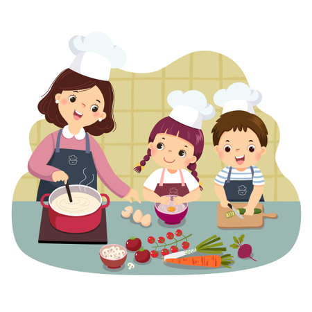 Vector illustration cartoon of mother and children cooking at kitchen counter. Kids doing housework chores at home concept. Vektoros illusztráció