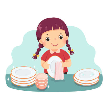 Vector illustration cartoon of a little girl drying the dishes at kitchen counter. Kids doing housework chores at home concept. Vetores