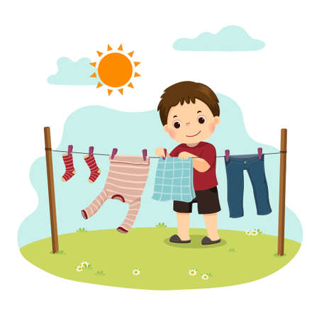 Vector illustration cartoon of a little boy hanging the laundry on the backyard. Kids doing housework chores at home concept.