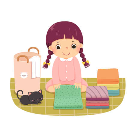 Vector illustration cartoon of a little girl folding clothes. Kids doing housework chores at home concept.