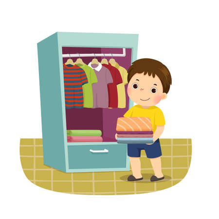 Vector illustration cartoon of a little boy putting stack of folded clothes in closet. Kids doing housework chores at home concept.