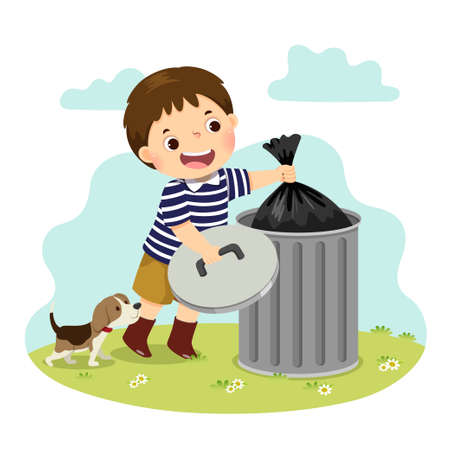 Vector illustration cartoon of a little boy taking out the trash. Kids doing housework chores at home concept